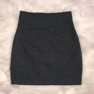 Aritzia skirt zipper back fitted pencil gray black